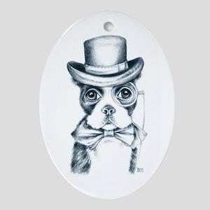 Cute Boston Terrier Oval Ornament