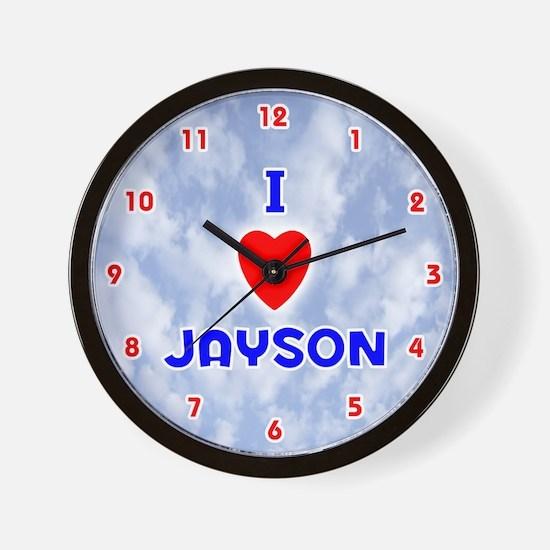 I Love Jayson (Red/Bl) Valentine Wall Clock