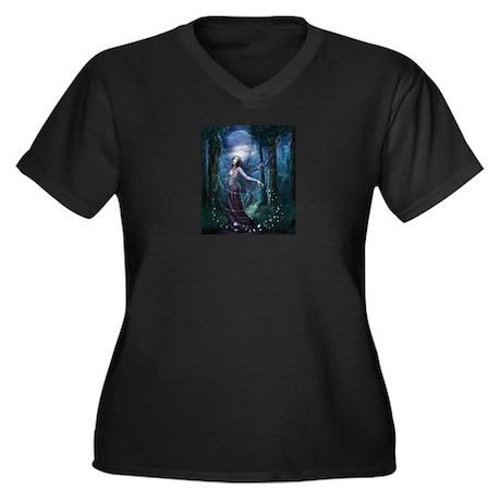 fantasy lair Women's Plus Size V-Neck Dark T-Shirt