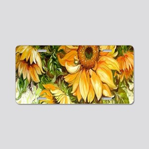 Pretty Sunflowers Aluminum License Plate