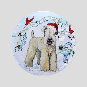 Wheaten Terrier Christmas Button
