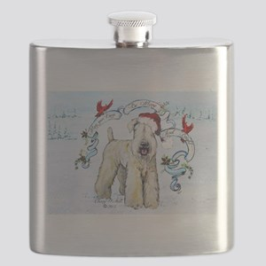Wheaten Terrier Christmas Flask