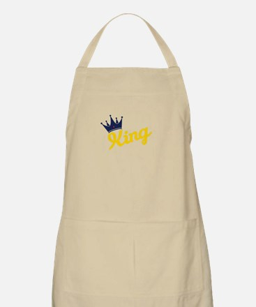 king and quen couple Apron