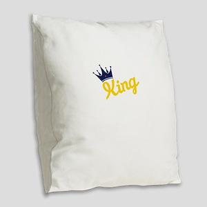 king and quen couple Burlap Throw Pillow