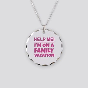 Family Vacation Necklace Circle Charm
