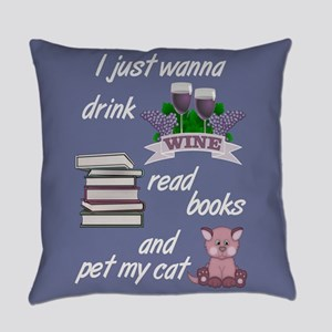 Wine Books Cats Everyday Pillow