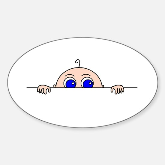 PEEK-A-BOO BABY (Blue Eyes) Sticker (Oval)