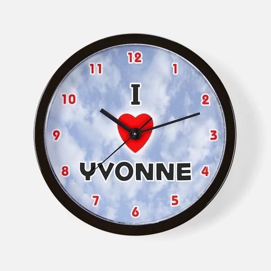 I Love Yvonne (Red/Blk) Valentine Wall Clock