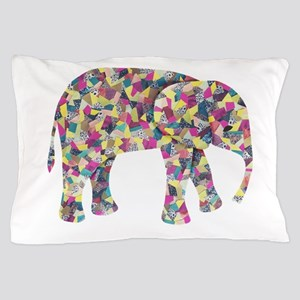 Colorful Elephant Collage Pillow Case