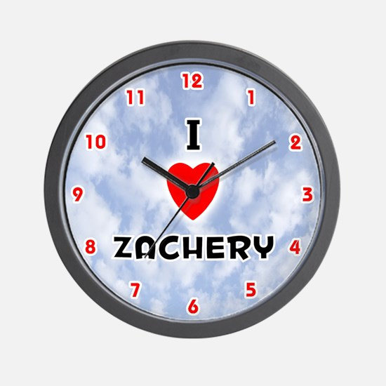I Love Zachery (Red/Blk) Valentine Wall Clock