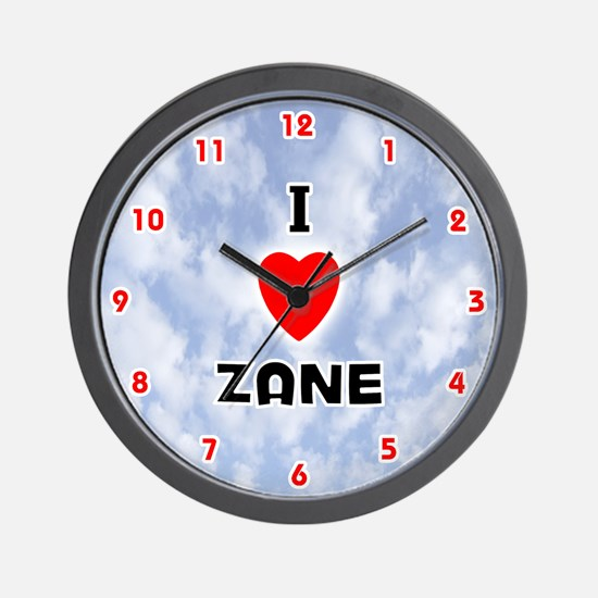 I Love Zane (Red/Blk) Valentine Wall Clock