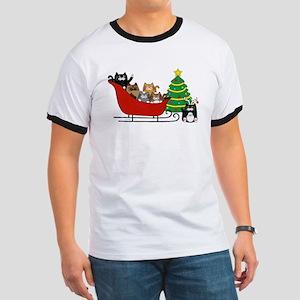 6 Kitty Cat, Sleigh Christmas Tree -  T-Shirt