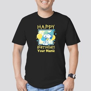 'Peanuts Happy Birthda Men's Fitted T-Shirt (dark)