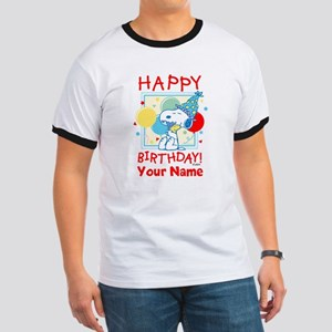 Peanuts Happy Birthday Red Personalized Ringer T