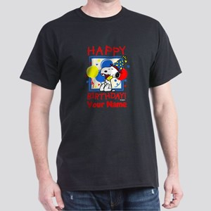 Peanuts Happy Birthday Red Personaliz Dark T-Shirt