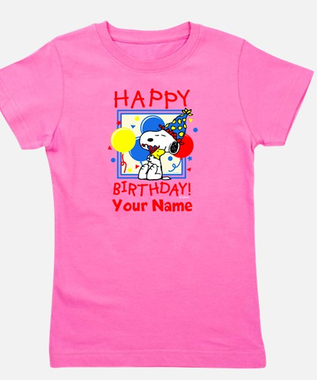 Peanuts Happy Birthday Red Personalized Girl's Tee
