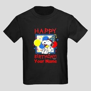 Peanuts Happy Birthday Red Perso Kids Dark T-Shirt