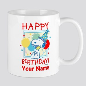 Peanuts Happy Birthday Red Personalized Mug