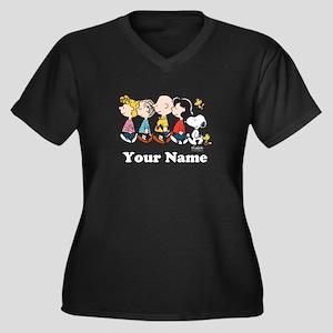 Peanuts Walk Women's Plus Size V-Neck Dark T-Shirt