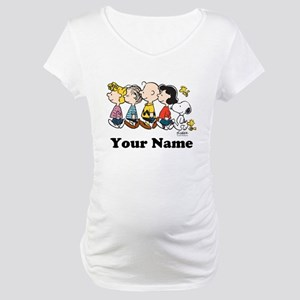 Peanuts Walking No BG Personaliz Maternity T-Shirt