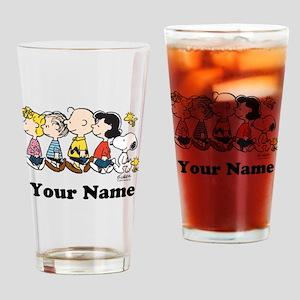 Peanuts Walking No BG Personalized Drinking Glass