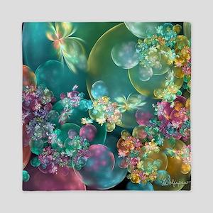 Butterflies, Bubbles, and Flowers Queen Duvet