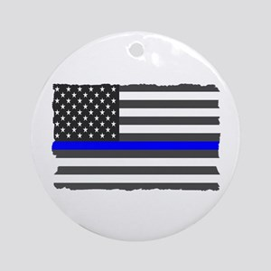 Us Flag Blue Line Round Ornament