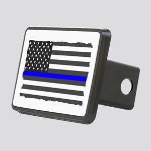 Us Flag Blue Line Rectangular Hitch Cover