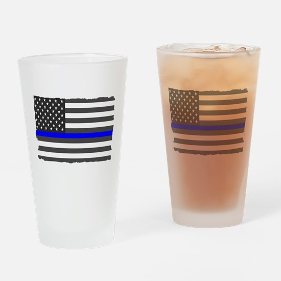 US Flag Blue Line Drinking Glass
