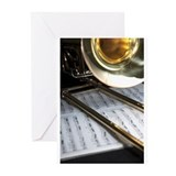 Music trombone Greeting Cards (20 Pack)