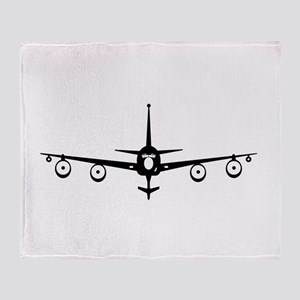 KC-135 Black Throw Blanket