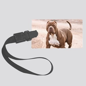 Hexin the pit bull Large Luggage Tag