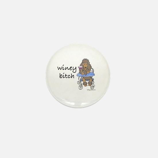 Winey Bitch Poodle Brown Mini Button
