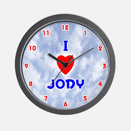 I Love Jody (Red/Bl) Valentine Wall Clock
