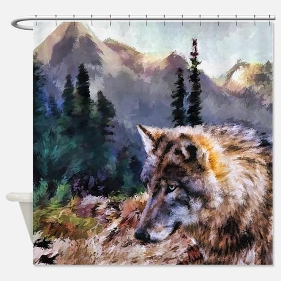 Spirit Wolf in Mountains Shower Curtain
