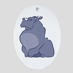 Hippopotamus Oval Ornament