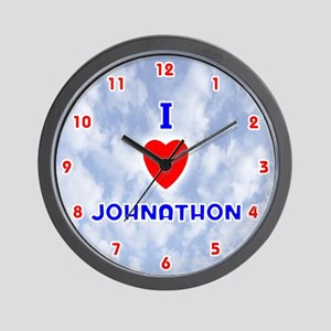 I Love Johnathon (Red/Bl) Valentine Wall Clock