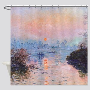 Sunset on the Seine at Lavacourt by Shower Curtain