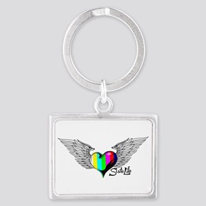 Winged Color Bar Heart Keychains