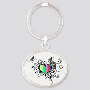 Frilled Color Bar Heart Keychains