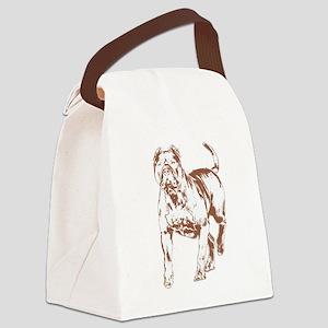 Pit bull w brn 1 Canvas Lunch Bag