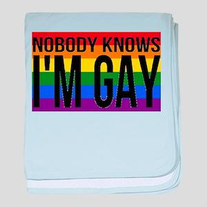 Nobody Knows I'm Gay baby blanket