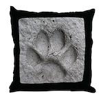 Gray Fox Track Throw Pillow