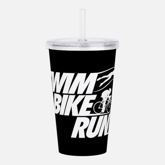 Swim Bike Run Acrylic Double-wall Tumbler