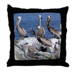 Pelicans on Rock Throw Pillow