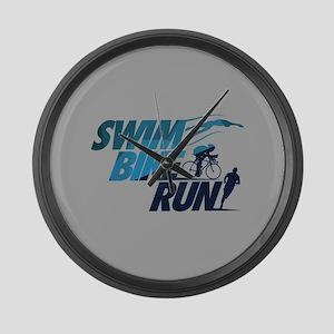 Swim Bike Run Large Wall Clock