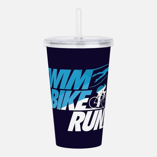 Swim Bike Run Acrylic Double-wall Tumbler