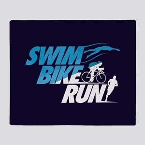 Swim Bike Run Throw Blanket