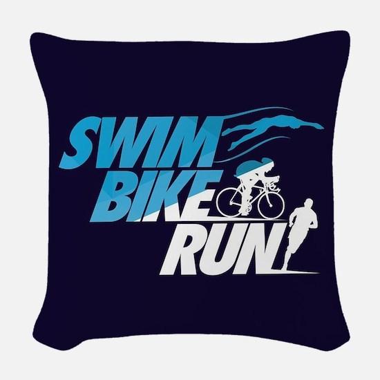 Swim Bike Run Woven Throw Pillow