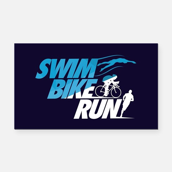 Swim Bike Run Rectangle Car Magnet